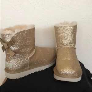 UGG Shoes - Gold Glitter Bailey Bow UGGs ~ Brand New